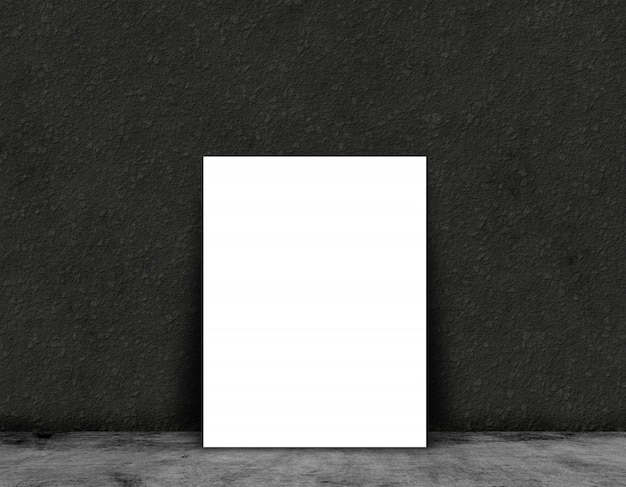 3d blank card or poster on a in a grunge room interior Free Photo