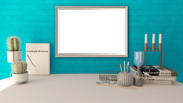 3d blank picture frame in a modern home office Free Photo