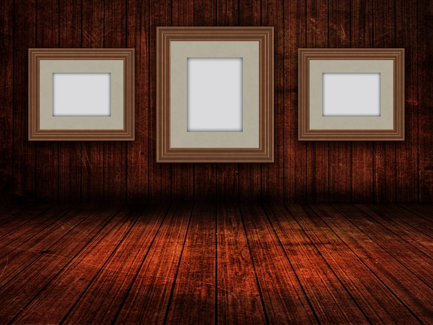 3d blank picture frames in a grunge room interior Free Photo