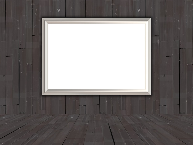 3d blank picture in an old wooden room Free Photo
