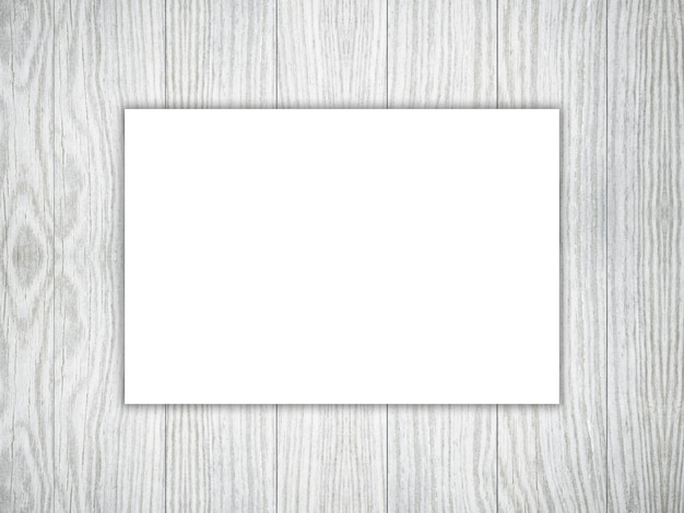 3d blank piece of white paper on a wooden texture photo free download