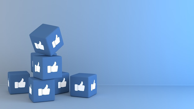 3d blue cubes with facbook like emoji reaction Premium Photo