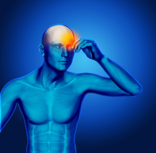 3d blue medical figure holding head in pain Free Photo