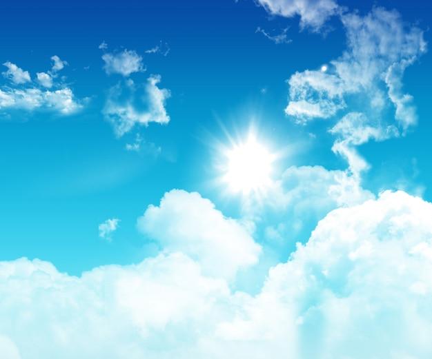 3dの青空、ふわふわした白い雲 無料写真