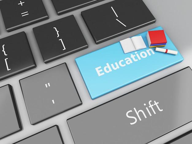 3d книги и диплом на компьютерной клавиатуре. Premium Фотографии