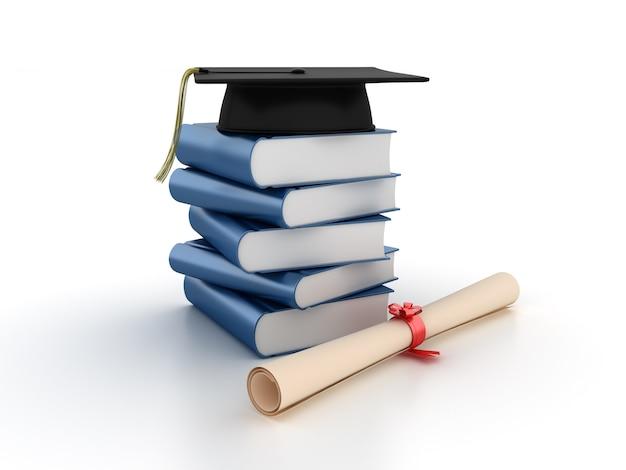 Куча 3d книг с минометом и дипломом Premium Фотографии