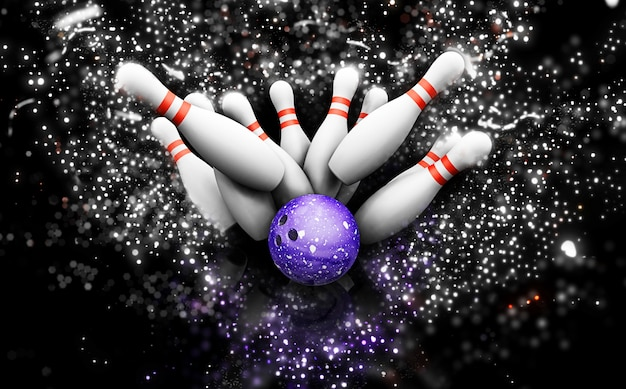 3d bowling skittles with sparkle effect Free Photo