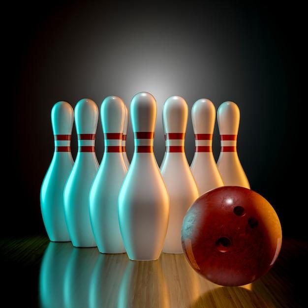 3d bowling Premium Photo