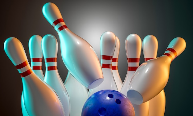 3d bowling Premium Photo
