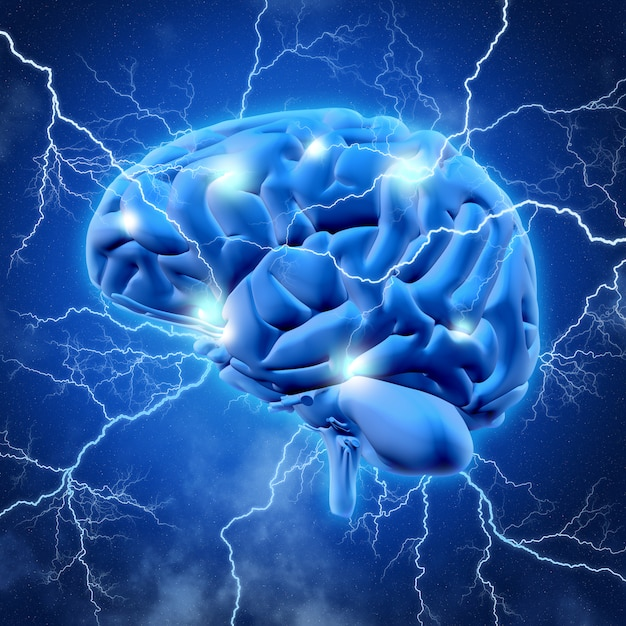 3d brain with lightening Free Photo