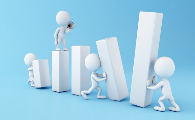 3d business people working together Premium Photo