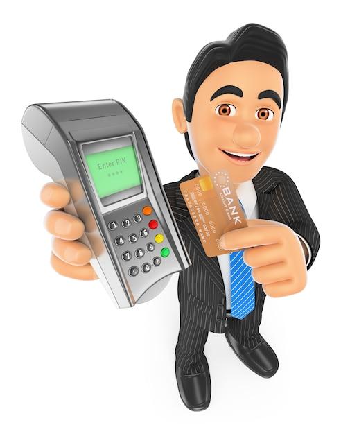3d бизнесмен расплачивается кредитной картой в банковском терминале Premium Фотографии