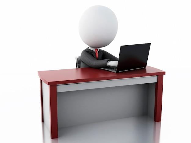 オフィスで働く3dビジネスマン Premium写真