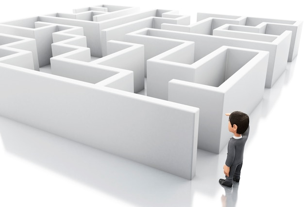 3d businessman standing in the entrance of a maze. Premium Photo