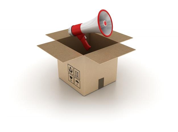 3d картонная коробка с мегафоном Premium Фотографии