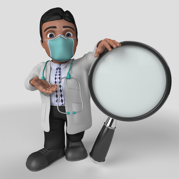 3d cartoon doctor character in maschera facciale Foto Gratuite