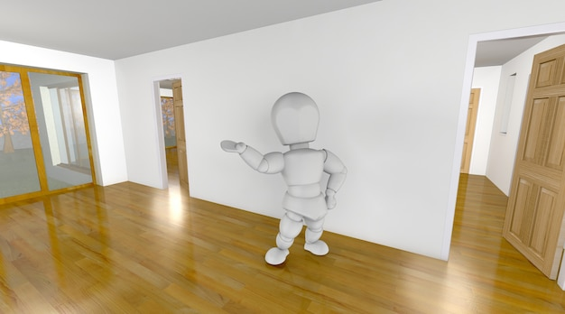 3d character in a house Free Photo