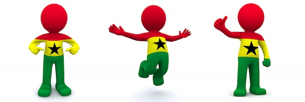 3d character textured with flag of ghana Premium Photo