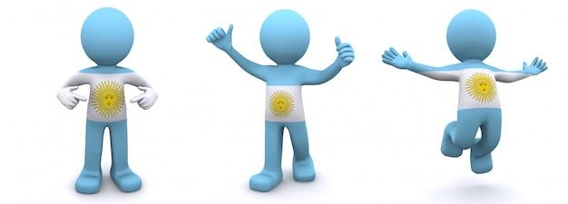 3d персонаж текстурированный с флагом аргентины Premium Фотографии