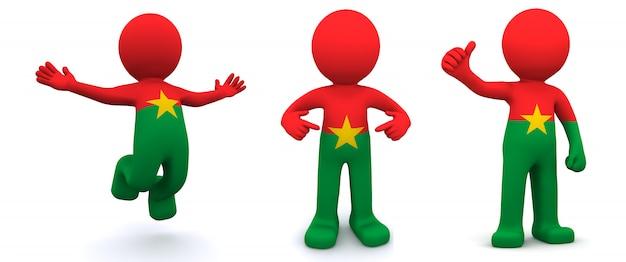ブルキナファソの国旗のテクスチャの3 dキャラクター Premium写真