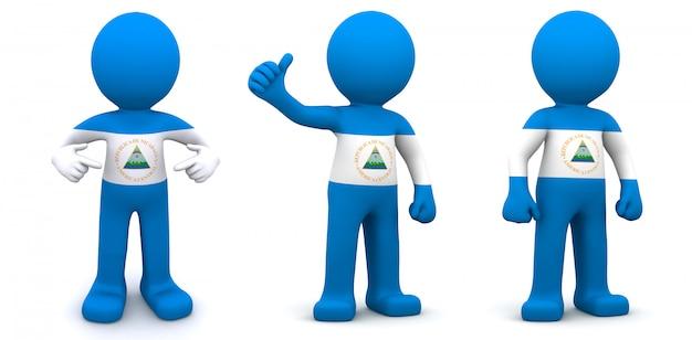 ニカラグアの旗のテクスチャの3 dキャラクター Premium写真