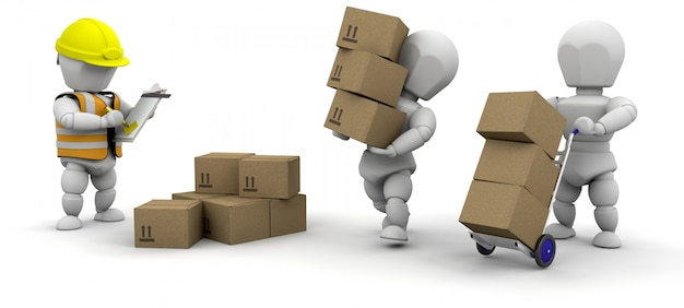 3d characters carrying boxes Free Photo