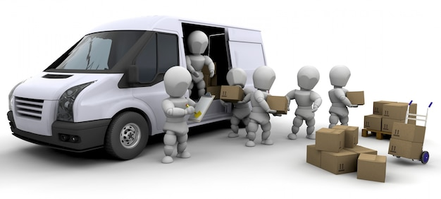 3d characters with boxes and a van Free Photo