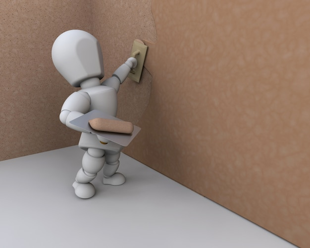 3d characters working on a wall Free Photo