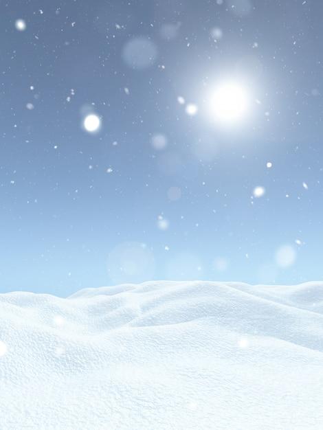 3d christmas snowy landscape Free Photo