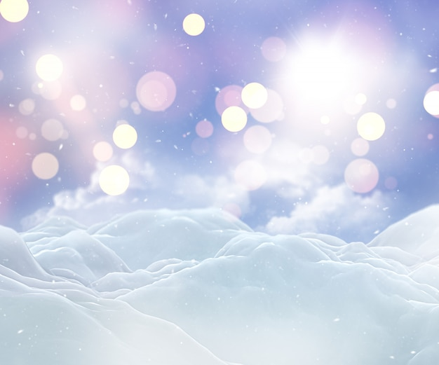 3d christmas snowy landscape Free Photo