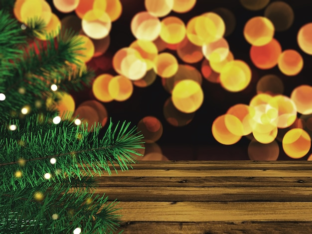 3d christmas tree against a wooden table and bokeh lights Free Photo