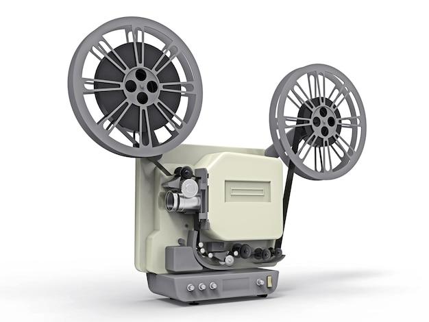 白い背景で隔離の3dシネマ映写機。 3dレンダリング。 Premium写真