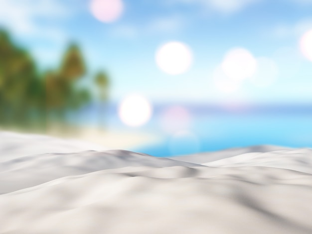 3d close up of sand against a defocussed palm tree island landscape Free Photo