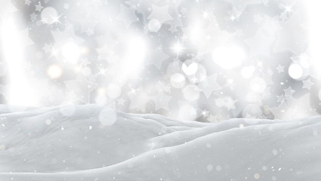 3d close up of snow on a silver starry background Free Photo
