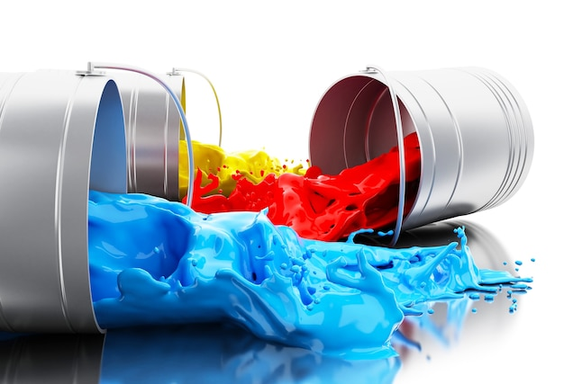 3d colorful paint splashing out of cans Premium Photo