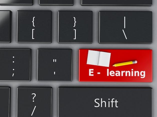 3d computer keyboard. education concept. Premium Photo