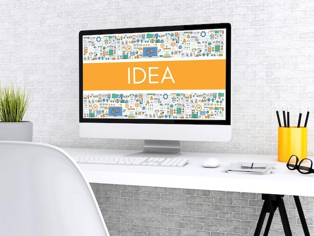 3d computer with word idea. Premium Photo