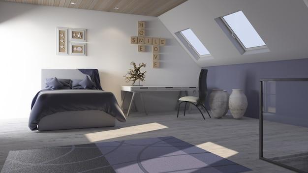 3d contemporary bedroom interior Free Photo