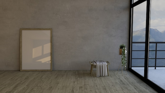 3d contemporary empty room and picture frame Free Photo