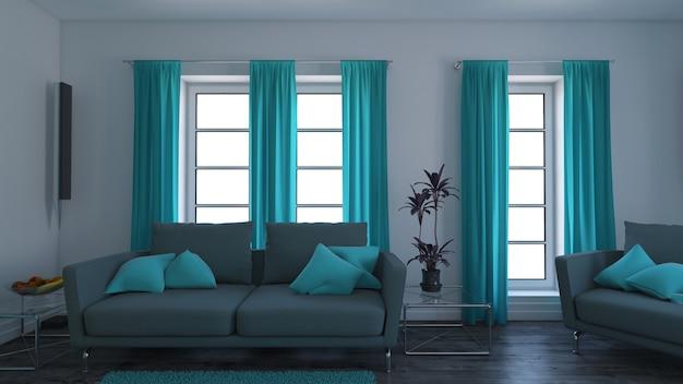 3dコンテンポラリーなリビングルームインテリアとモダンな家具 無料写真