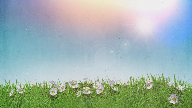 3d daisies in grass sunny sky with grunge retro effect Free Photo
