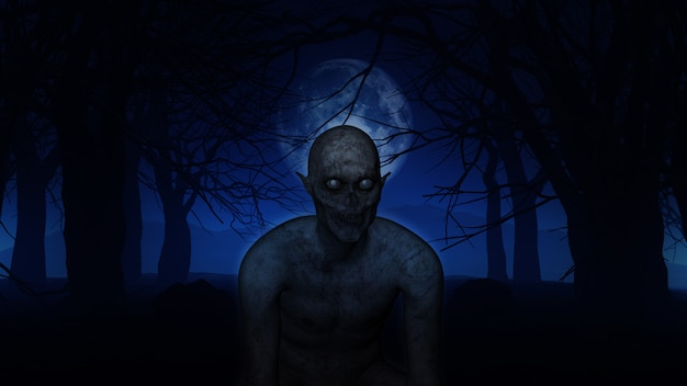 3d demonic figure in spooky woods Free Photo
