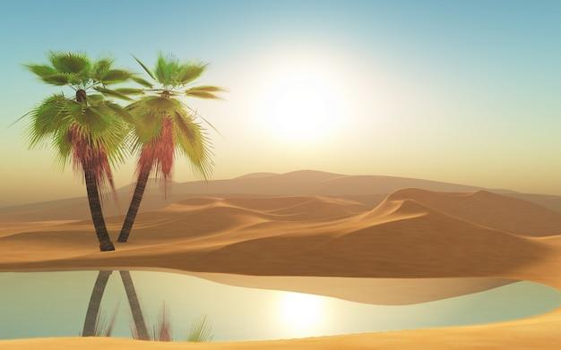 3d пустыня и пальмы Бесплатные Фотографии