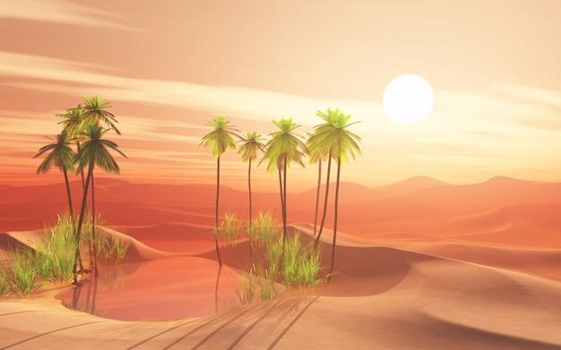 ヤシの木のオアシスと3 d砂漠のシーン 無料写真