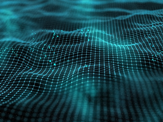 3d digital landscape with connecting lines and dots Premium Photo