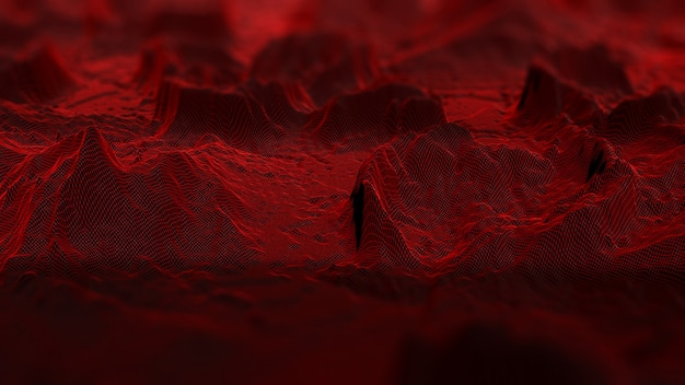 3d digital landscape with connecting lines Premium Photo