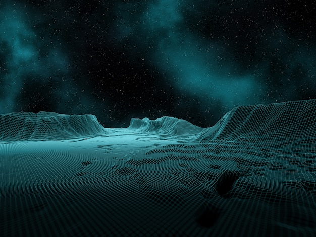 3d digital landscape with space sky and nebula Free Photo