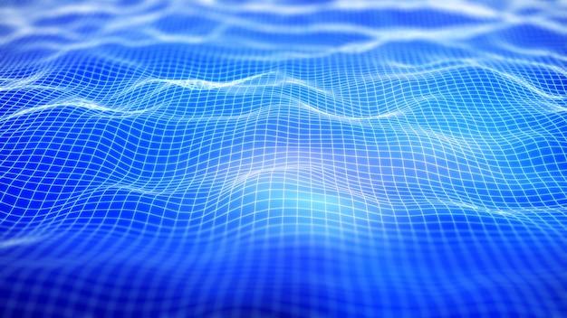 3d digital network background with flowing grid Premium Photo