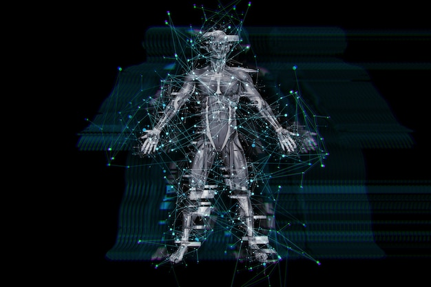 3d digital technology background with glitch effect on male medical figure Free Photo