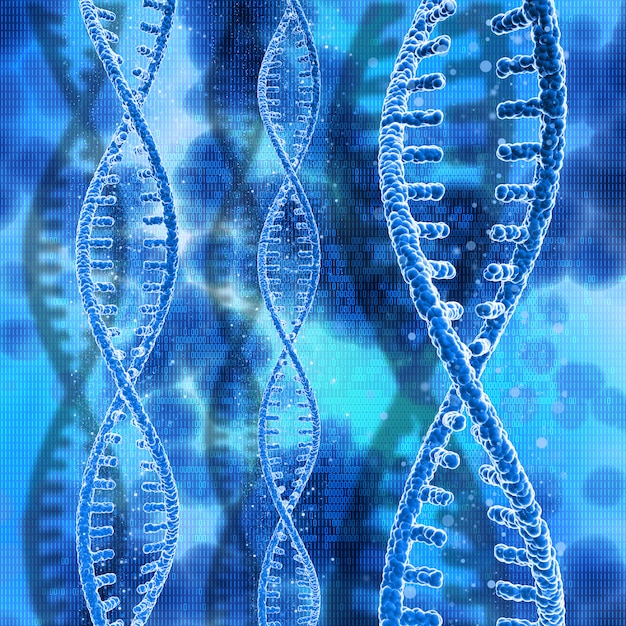 3d dna strands on a binary code background Free Photo